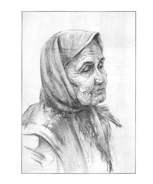 Рисуем портрет пожилой женщины