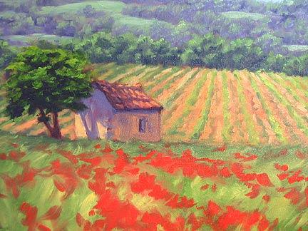 Рисуем пейзаж с маками
