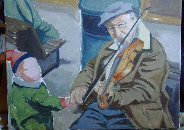 Уличный скрипач, холст, масло