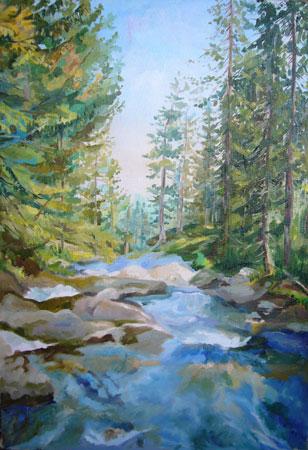 Рисование маслом лесной пейзаж