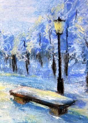 Зимний парк пастелью