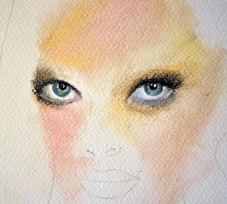 женский портрет пастелью